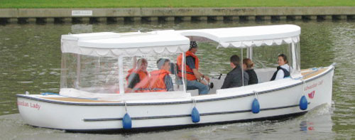 Our new boat for 2014, Edwardian Lady, can carry up to 12 passengers.